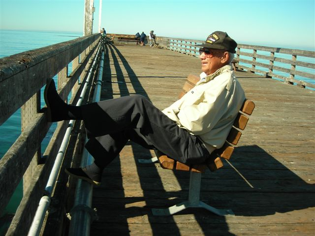 Arthur Relaxes on the Cayucos Pier.JPG